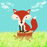 Illustration of a fox in the woods Royalty Free Stock Photo