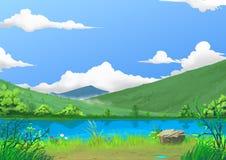 Illustration: Frühling: Die schöne Fluss-Seite durch den Berg mit grünem frischem Gras und Blumen, nachdem dem Regnen