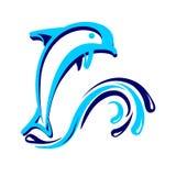 Illustration för delfinsymbolsvektor Arkivbilder