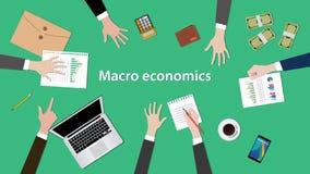 Illustration för diskussion för makronationalekonomibegrepp med skrivbordsarbeten, pengar, anteckningsbok överst av tabellen Royaltyfria Bilder
