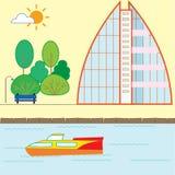 Illustration för gatahusvektor Byggnader träd, buskar Royaltyfri Foto