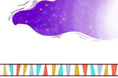 Illustration für Kinder: Der Traum von weit weg vorangehen durch die Schienen-Weise Stockfoto