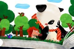 Illustration für Kinder: Der Wald im Geschichten-Buch Lizenzfreie Stockbilder