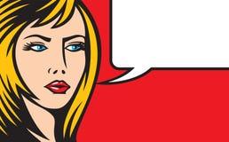 Illustration för kvinna för popkonst Arkivfoton