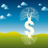 Illustration för pengarträdvektor med dollartecknet Royaltyfri Fotografi