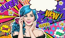 Illustration för popkonst av den blåa kvinnliga elevrepresentanten på bakgrund för popkonst Flicka för popkonst Etikett för tetid Arkivbild