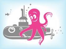 Illustration för tecknad filmbläckfisk- och ubåtvektor Royaltyfri Bild