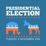 Illustration för vektor för begrepp för USA presidentvaldag Repuclican och demokratpartisymboler Royaltyfria Bilder
