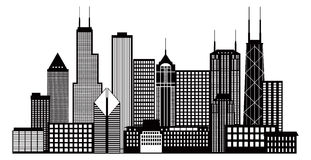 Illustration för vektor för Chicago stadshorisont svartvit Fotografering för Bildbyråer