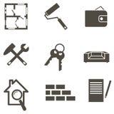 Illustration för vektor för fastighetsymbolsuppsättning Royaltyfri Foto