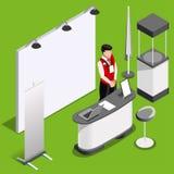 Illustration för vektor för folk för ställning för utställningbås 3D isometrisk Arkivfoton