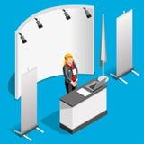 Illustration för vektor för folk för utställning för båsställning 3D isometrisk Royaltyfri Bild