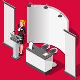 Illustration för vektor för folk för utställningbåsställning 3D isometrisk Royaltyfri Fotografi