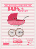 Illustration för vektor för mall för baby showerflickainbjudan med tappningpramen Arkivfoton