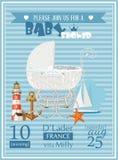 Illustration för vektor för mall för baby showerpojkeinbjudan med tappningpramen Royaltyfri Foto