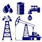 Illustration för vektor för oljeindustrisymbolsuppsättning Arkivfoton