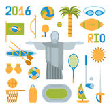 Illustration för vektor för symboler för Rio de Janeirosommarolympiska spel Arkivbild
