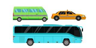 Illustration för vektor för transport för taxi för stadsväg Arkivbilder