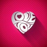 Illustration för vektorvalentindag med förälskelse 3d dig typografidesign på hjärtabakgrund Royaltyfri Bild