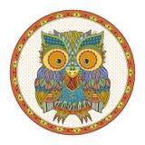 Illustration för vektorzentangleuggla Utsmyckad mönstrad fågel Royaltyfria Foton