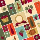 Illustration för vinvinodling och restauranger Arkivfoton