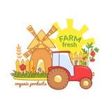 Illustration fraîche de vecteur de ferme avec rural Image libre de droits