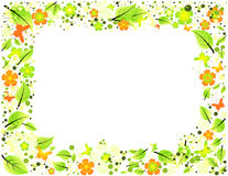 Abstract frame from leaves, flowers and butterflie Royalty Free Stock Photo