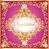 frame background with gold pattern by net and bow Royalty Free Stock Photos
