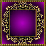 Illustration frame with gold pattern Royalty Free Stock Photo