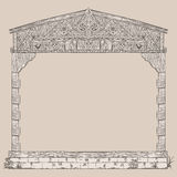 Illustration frame of timber framing house Stock Photo