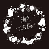Illustration,  frame, white silhouette on a black background. Set of winter elements and festive Christmas characters. Capti Royalty Free Stock Image