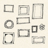 Illustration of frames on a sheet of lined paper Stock Image