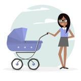 Illustration Frau und Pram Junge Mutter und Kinderwagen Lizenzfreies Stockbild