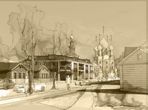 Illustration freehand watercolor drawing and painting of small town. With church. Sepia colors Stock Photography