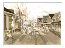 Illustration freehand watercolor drawing and painting of small town. With church. Sepia colors Stock Photos