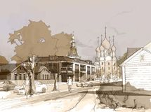 Illustration freehand watercolor drawing and painting of small town. With church. Sepia colors Royalty Free Stock Image