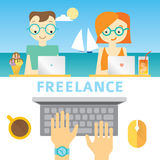 Illustration about freelancer's life with working people on the sea background Stock Photography