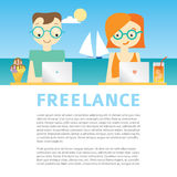 Illustration about freelancer's life with working people on the sea background Royalty Free Stock Image