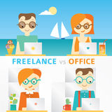 Illustration about freelancers working on the seaside and teamwork in office, comparison Royalty Free Stock Photo