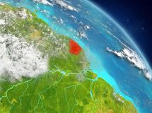 French Guiana from orbit. Illustration of French Guiana as seen from Earth's orbit. 3D illustration. Elements of this image furnished by NASA Royalty Free Stock Images