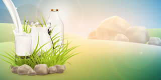 Illustration of fresh milk pouring in glass standing near bottle and full jug hiding in grass with stones around Stock Photography