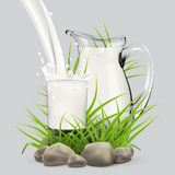 Illustration of fresh milk pouring in glass standing near full jug of milk and bottle hiding in grass with stones around Royalty Free Stock Photography