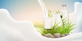 Illustration of fresh milk pouring in glass standing near full jug of milk and bottle hiding in grass with stones around Stock Photo