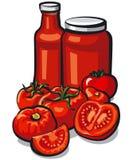 Tomatoes and tomato sauce. Illustration of fresh tomatoes and tomato sauce and ketchup royalty free illustration
