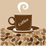 Illustration of freshly brewed coffee on a background of coffee. Beans vector illustration