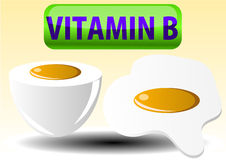 Illustration of fried boiled egg and Vitamin B Stock Images