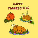 Illustration fried turkey and pumpkin. Thanksgiving card. Royalty Free Stock Image