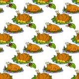 Illustration fried turkey. Thanksgiving Day. Seamless pattern. Stock Image