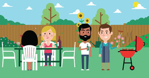 Illustration Of Friends Having Barbecue In Garden stock illustration