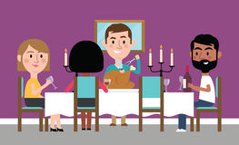 Illustration Of Friends Having Dinner Party At Home royalty free illustration